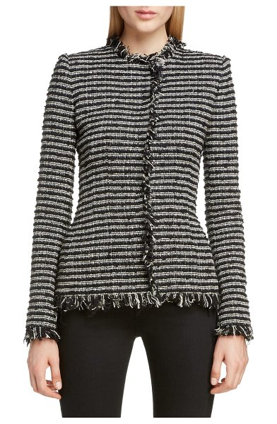 Alexander McQueen frayed tweed jacket in black-ivory-nacre