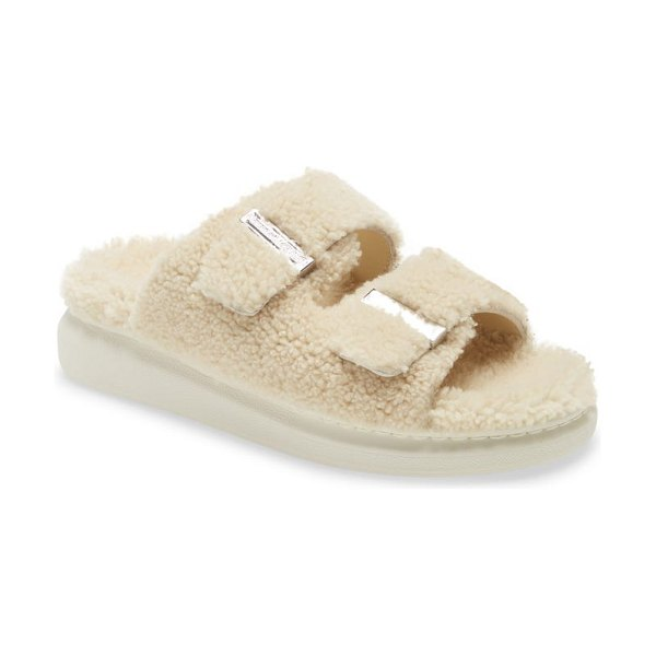 Alexander McQueen genuine shearling double band slide sandal in natural/ silver