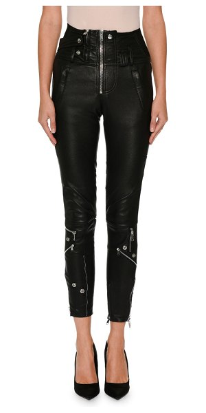 Alexander McQueen High-Waist Stretch-Leather Biker Pants in black - Alexander McQueen biker pants in stretch-leather....