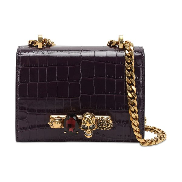 Alexander McQueen Jeweled croc embossed satchel bag in purple