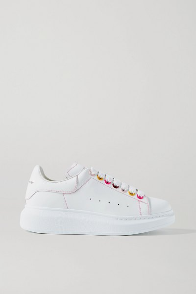 Alexander McQueen leather exaggerated-sole sneakers in white