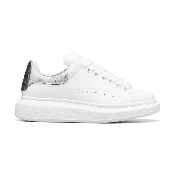 Alexander McQueen Leather Lace-Up Platform Sneakers in white/silver