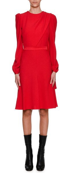 Alexander McQueen Long-Sleeve Crepe Draped-Bodice Dress in scarlet - Alexander McQueen crepe dress with wide scarf draped...