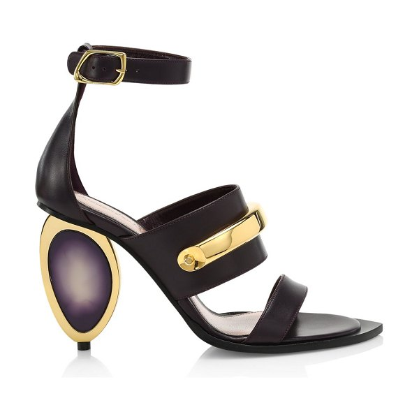 Alexander McQueen metal-heel leather sandals in amethyst