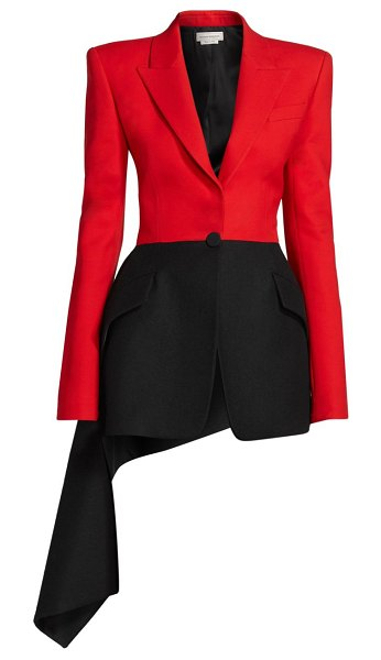 Alexander McQueen military draped wool-blend jacket in black red