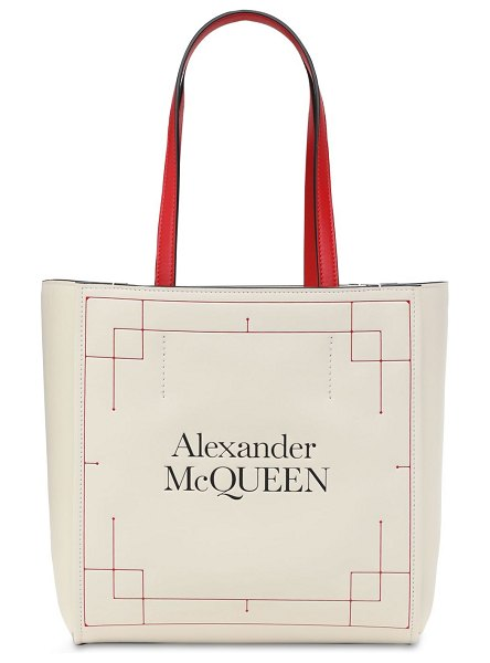 Alexander McQueen Printed logo leather tote in deep ivory