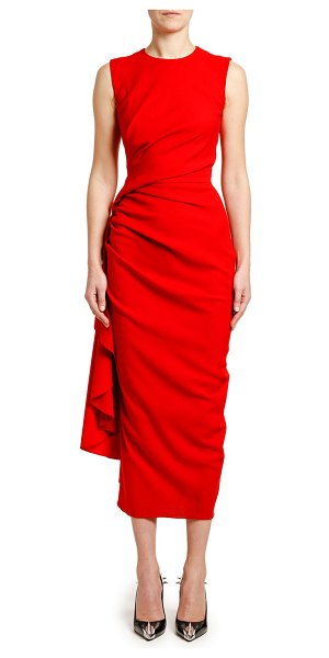 Alexander McQueen Ruched Crepe Cocktail Dress in red