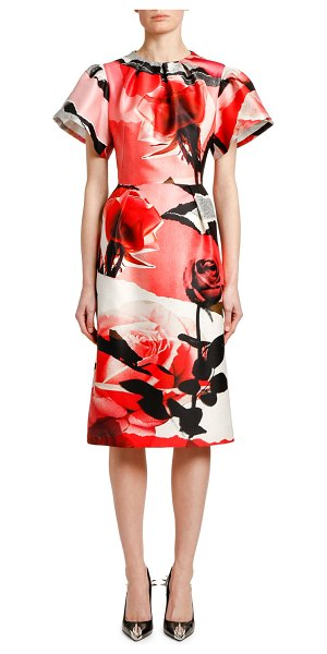Alexander McQueen Short-Sleeve Torn Rose Wool-Silk Midi Dress in pink/gray