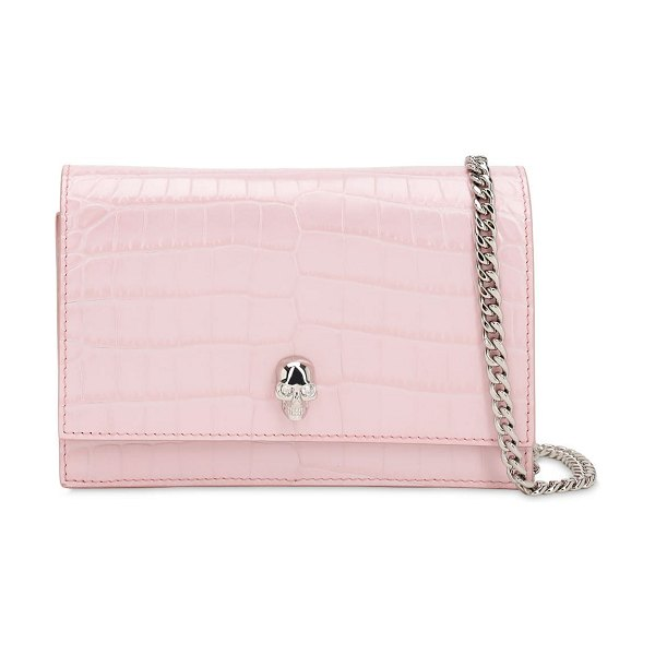 Alexander McQueen Small skull croc embossed leather bag in blush rose