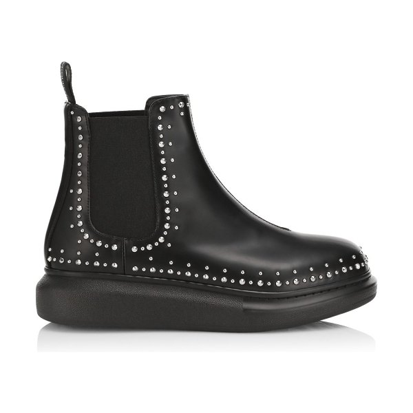 Alexander McQueen studded leather chelsea boots in black