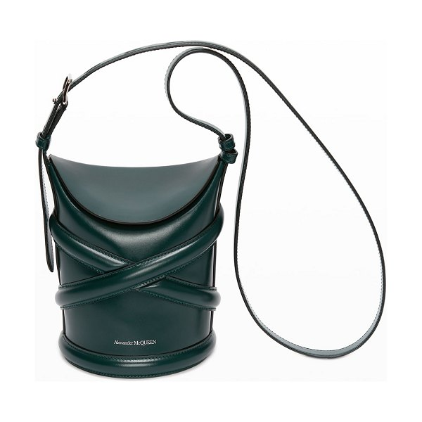 Alexander McQueen The Curve Small Hobo Bucket Bag in forest green