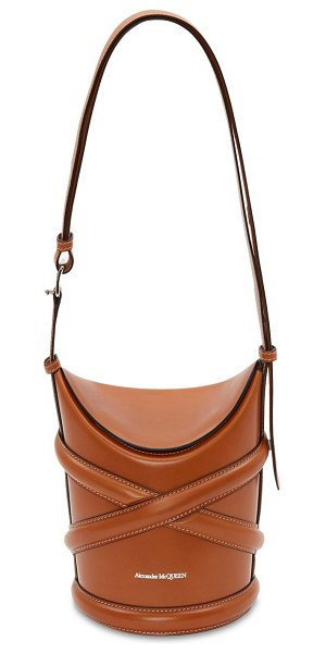 Alexander McQueen The curve small leather shoulder bag in tan