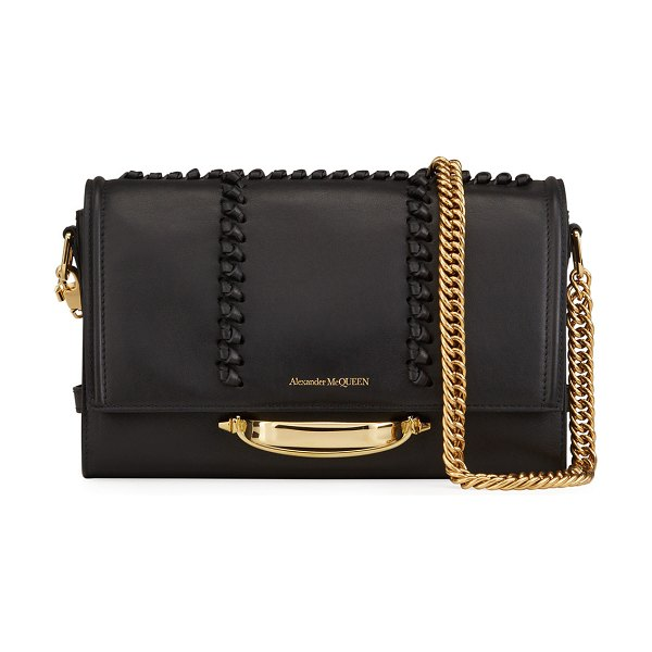 Alexander McQueen The Story Topstitch Leather Shoulder Bag in 1001 black