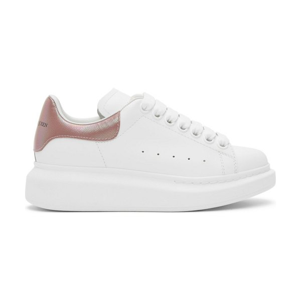 Alexander McQueen white and pink iridescent oversized sneakers in 9053 wh,ros