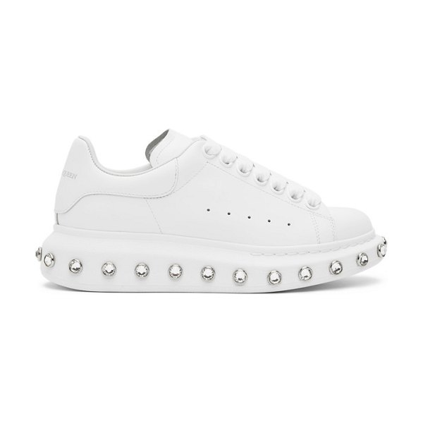 Alexander McQueen white rhinestone oversized sneakers in 9069 wh,cry