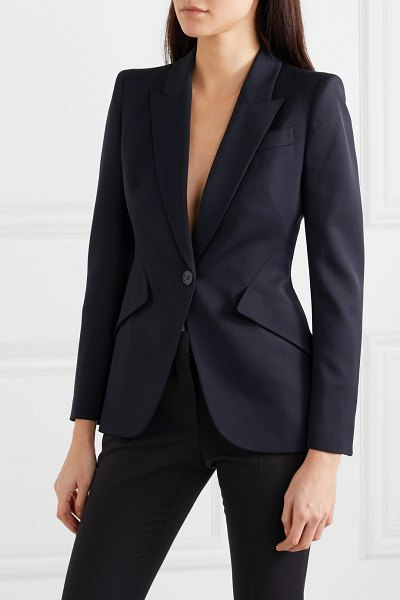 Alexander McQueen wool blazer in navy - Tailored with strong shoulders and sharp lines,...