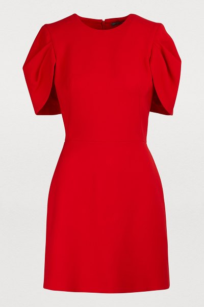 Alexander McQueen Wool cape dress in 6610 - lust red - Alexander McQueen brings a famous story to life with...
