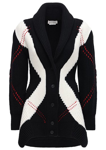 Alexander McQueen Wool & cashmere knit long cardigan in black,ivory,red
