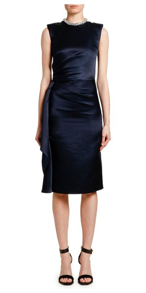 Alexander McQueen Wrapped Satin Jeweled Neck Cocktail Dress in black