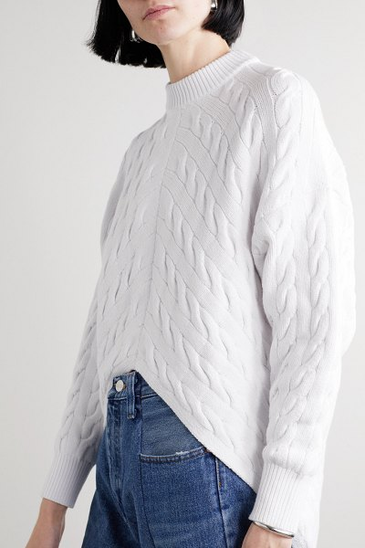 Alexander Wang asymmetric cable-knit cotton-blend sweater in white