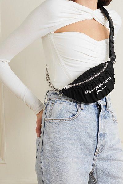 Alexander Wang attica ruched printed nylon belt bag in black