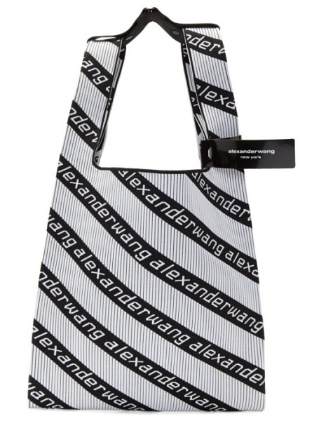 Alexander Wang black and white jacquard diagonal logo shopper tote in black,white