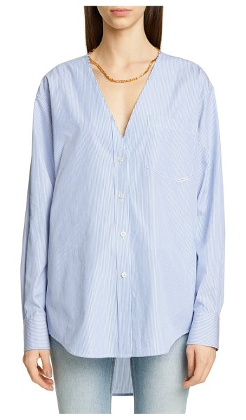 Alexander Wang chain detail shirt in blue microstripe