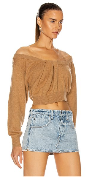 Alexander Wang cropped drape neck sweater in neutral