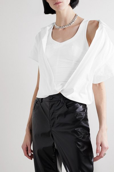 Alexander Wang cropped layered cotton-twill and ribbed jersey blouse in white