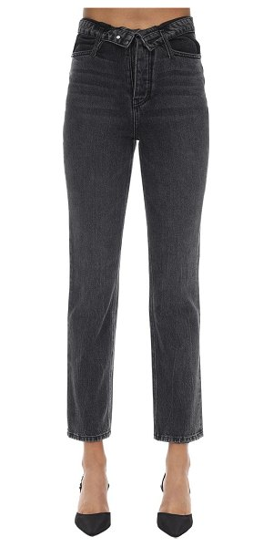 Alexander Wang Folded over cotton denim pants in black