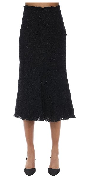 Alexander Wang Fringed lurex tweed midi skirt in black