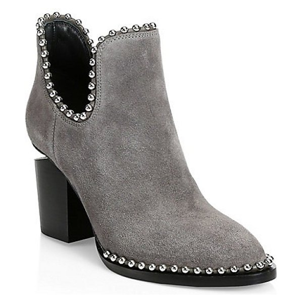 Alexander Wang gabi cutout studded suede ankle boots in grey