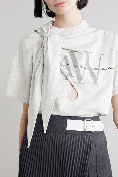 Alexander Wang knotted cutout printed cotton-jersey t-shirt in light gray
