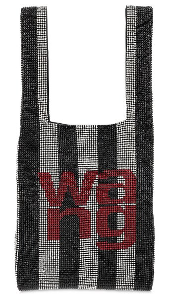 Alexander Wang Mini wang lock embellished shopper bag in black,white