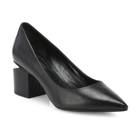 8eaddf255b55 Alexander Wang simona tilt-heel leather point toe pumps in black - Smooth  leather pointy