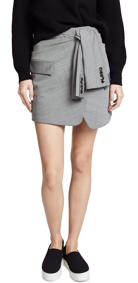 39260e313 Alexander Wang Tie Front Skirt in Gray | Shopstasy