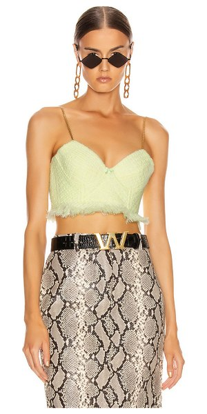 Alexander Wang tweed bra chain strap top in highlighter