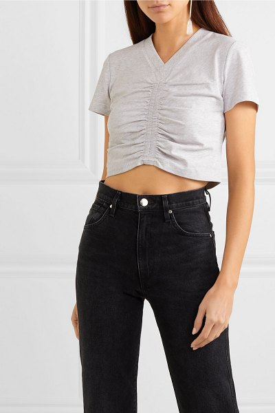 alexanderwang.t cropped ruched cotton-jersey t-shirt in light gray