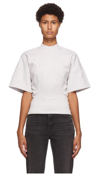 alexanderwang.t grey sculpted short sleeve top in 030 heather