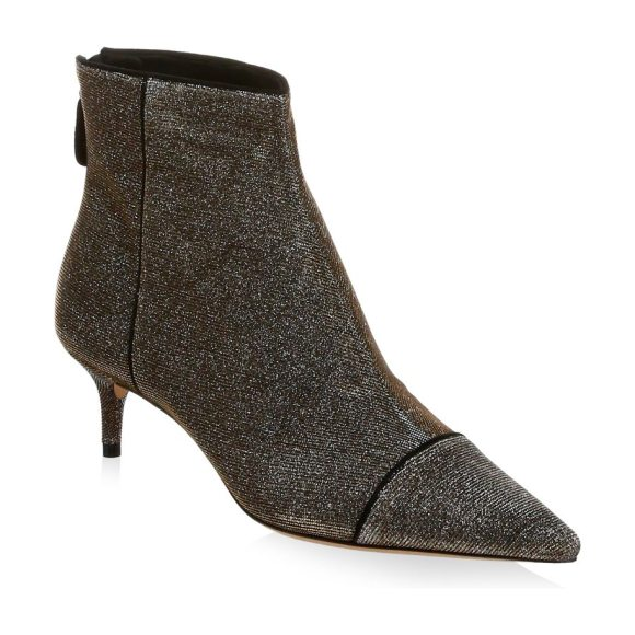 Alexandre Birman kittie cap toe booties in stellar black - Chic booties with an allover metallic texture. Kitten...