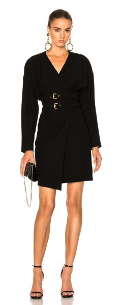 Alexandre Vauthier Belted Wrap Dress in black - 100% poly.  Made in Bulgaria.  Dry clean only.  Unlined....