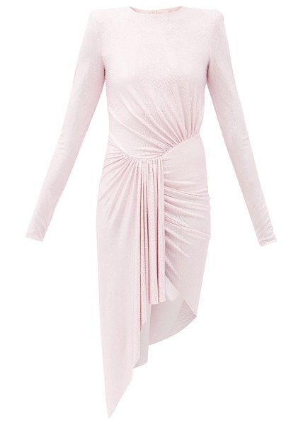 Alexandre Vauthier crystal-studded draped mini dress in pink