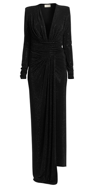 Alexandre Vauthier microcrystal plunging long-sleeve gown in black,burgundy