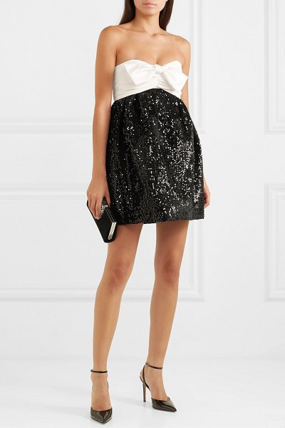 Alexandre Vauthier strapless bow-detailed satin and sequined velvet mini dress in black