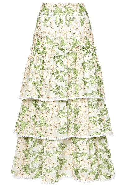 Alexis aditya high rise tiered midi skirt in print