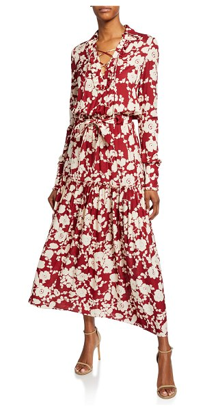 Alexis Ambrosia Floral-Print Long-Sleeve Dress in maroon