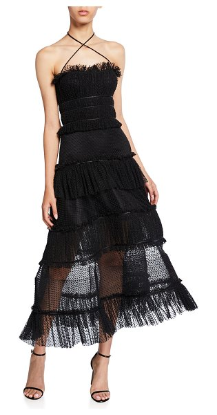 Alexis Angelina Tiered Ruffle Cocktail Dress in black