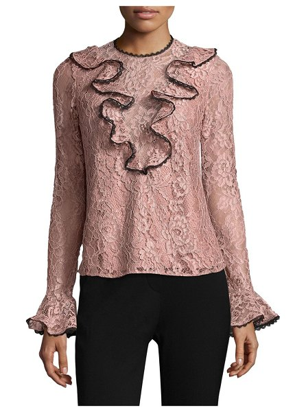 ALEXIS BARBARA Addie Ruffled Lace Top in blush - EXCLUSIVELY OURS. Lace top with front and back ruffles....