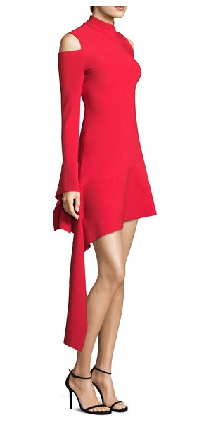 ALEXIS BARBARA Alia Cold-Shoulder Mini Dress in red - Chic assymetrical dress perfect for any occassion....