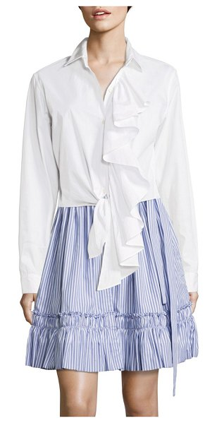 ALEXIS BARBARA Kinley Ruffled Cotton Poplin Top in white - Cotton tie-waist top with cascading ruffled front. Point...